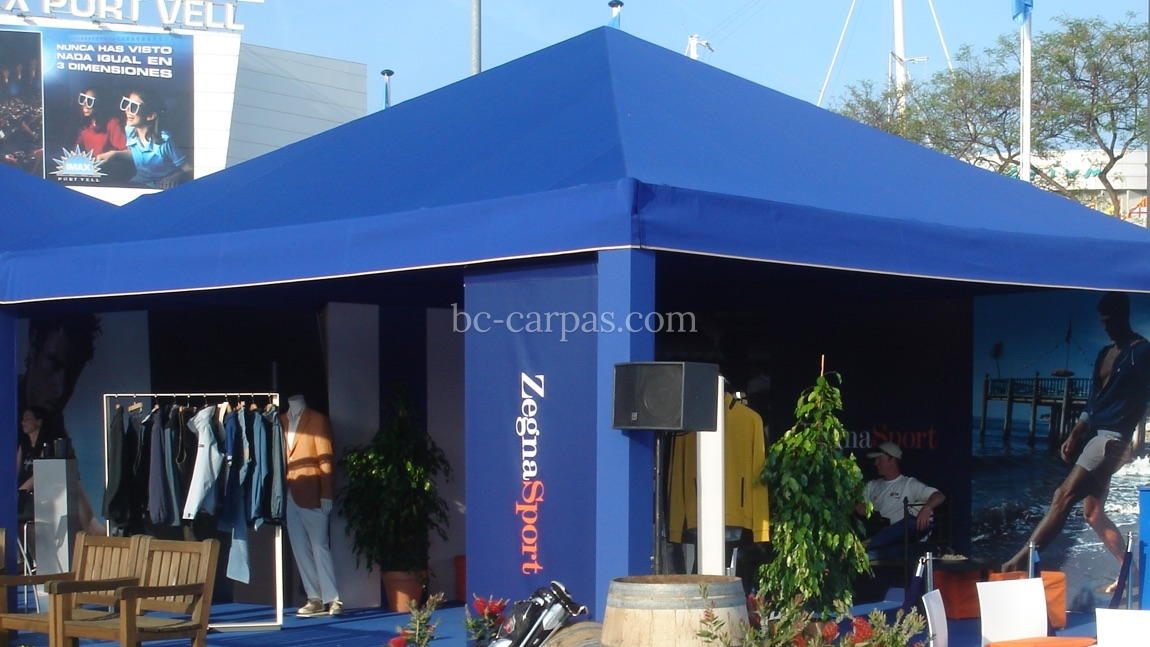 carpa para evento de color azul