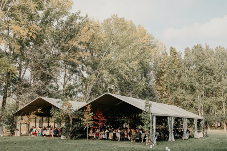 Una boda de otoño con árboles debajo de la carpa.